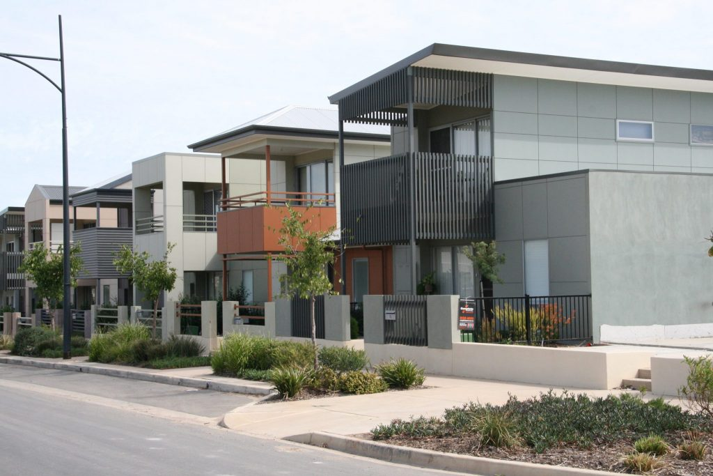 Homes on subdivided blocks in an Adelaide suburb