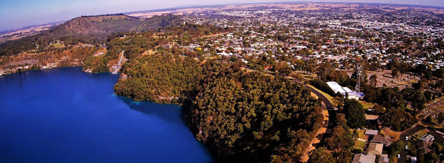 Aerial photograph of Mount Gambier's Blue Lake