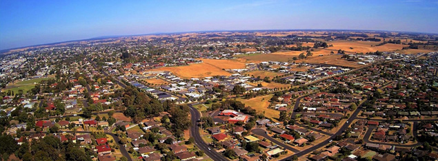 Aerial photograph of residential area of Mount Gambier