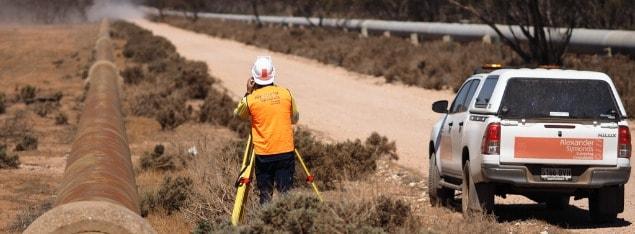 Surveyor on Geranium Plains Pump Station