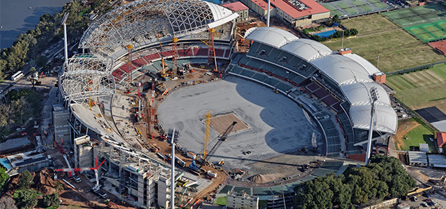 adelaide oval under construction from above