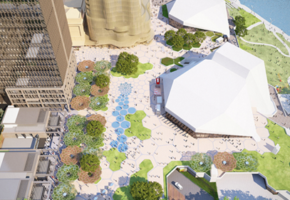 Artists impression of overhead view of Adelaide Riverbank Precinct